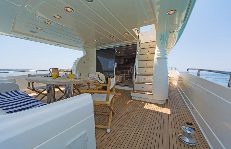 Aft-Deck of a luxury Motor-Yacht fotografia royalty free