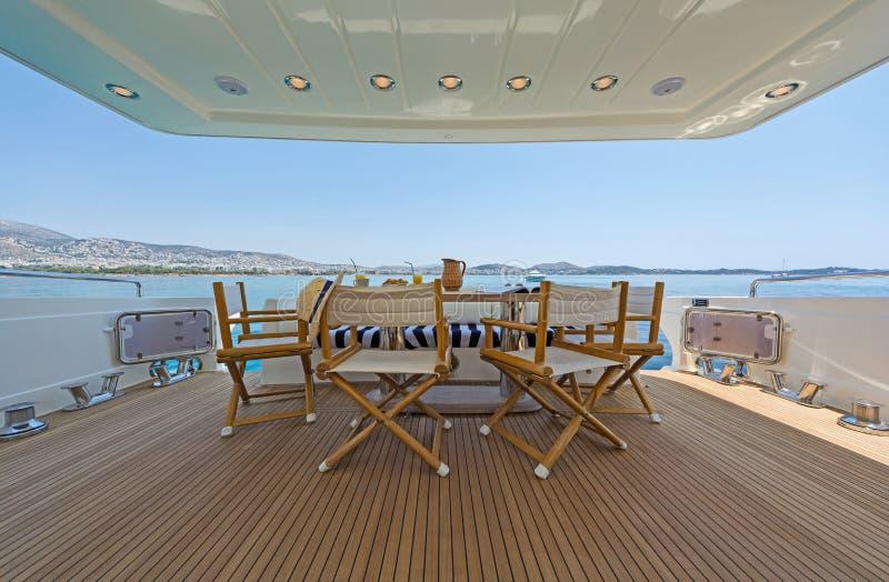 Aft-Deck of a luxury Motor-Yacht zdjęcia royalty free