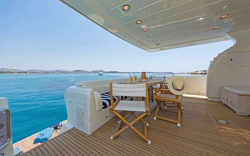 Aft-Deck of a luxury Motor-Yacht zdjęcie royalty free
