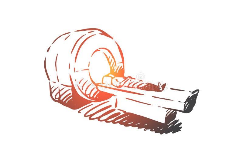 Aftasten, kenmerkend ct, radiologie, geduldig concept Hand getrokken geïsoleerde vector stock illustratie