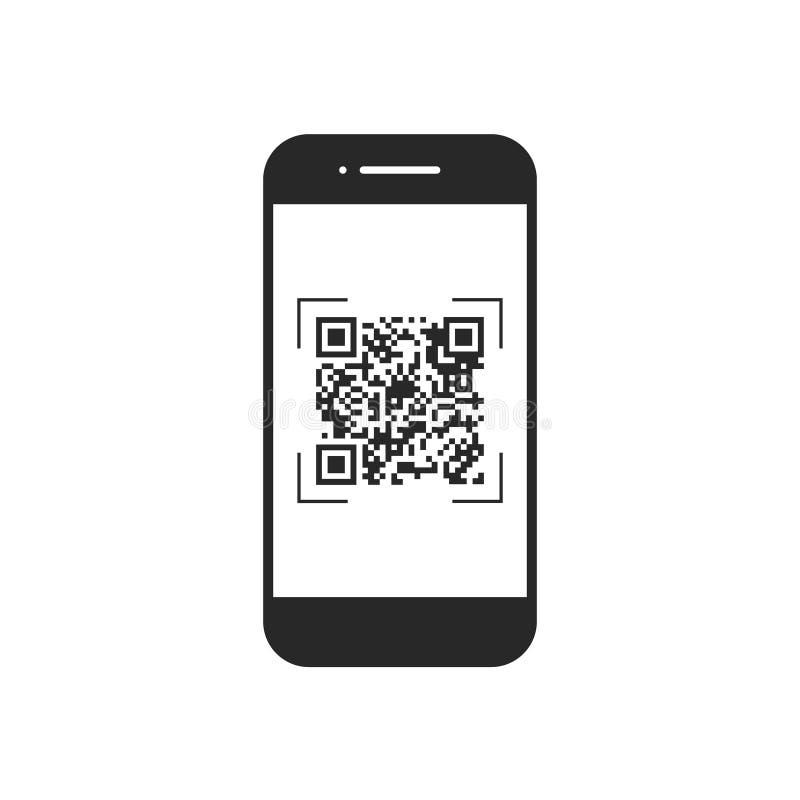Aftastenqr code met mobiele telefoon, symbool, app Elektronische, digitale technologie, streepjescode Vector illustratie royalty-vrije illustratie