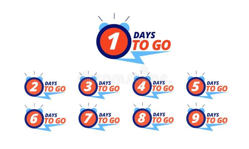 Aftellingstempels Aantal dagen voor verkoop met links-dagnummers Promo met beperkte productbeschikbaarheid, aanbieding voor grote stock illustratie
