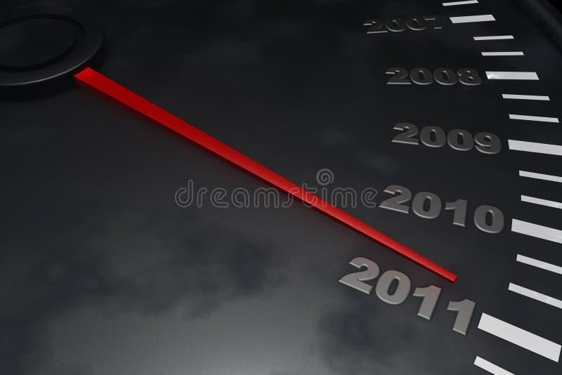Aftelprocedure aan Nieuwjaar 2011 royalty-vrije illustratie