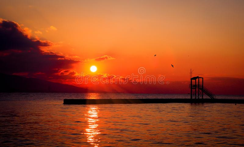 Afterglow, Horizon, Sunset, Sea royalty free stock photography