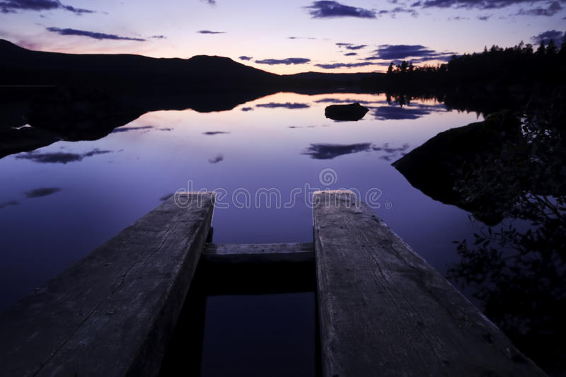Afterglow in the Rogen Nationalpark in Sweden royalty free stock photography