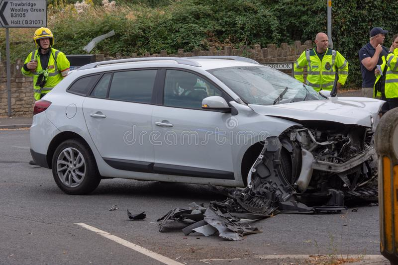 Aftermath of a head on car collision royalty free stock photography