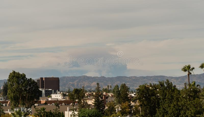 Aftermath of the Los Angeles fires viewed from the San Fernando Valley royalty free stock photography