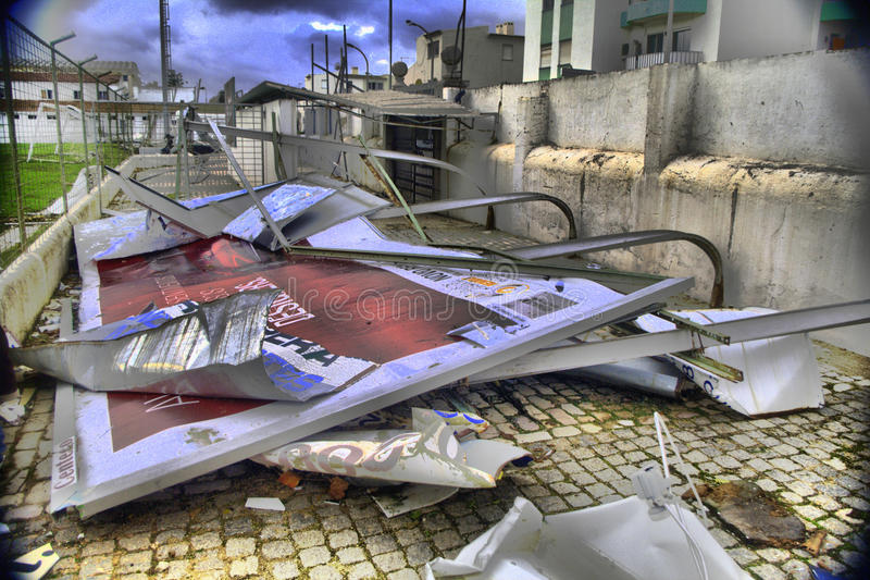 Aftermath of the tornado. Outdoor advertising bent by a tornado in Silves, Portugal
