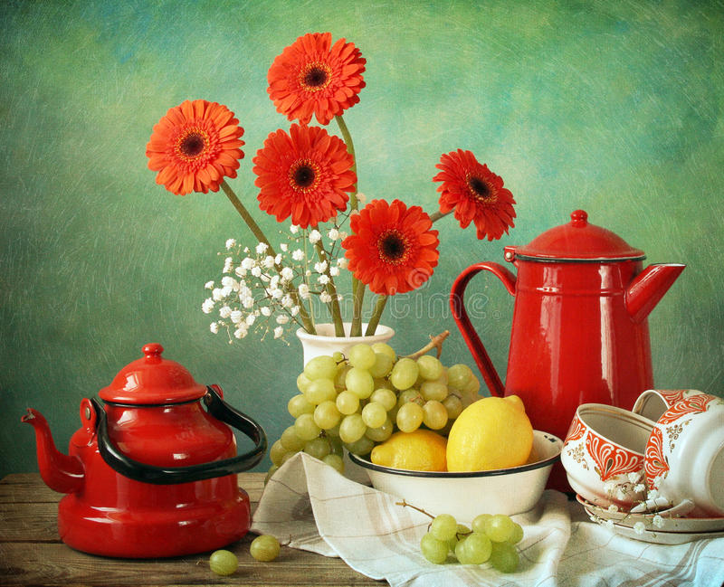 Afternoon. Still life with afternoon table stock photo
