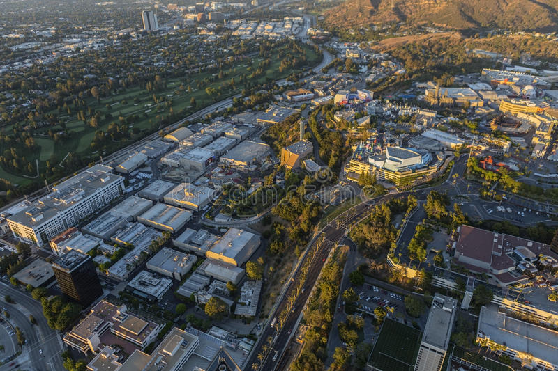 Afternoon Aerial Universal City Los Angeles. Los Angeles, California, USA - July 21, 2016: Late afternoon aerial of Universal City Studios stock photo