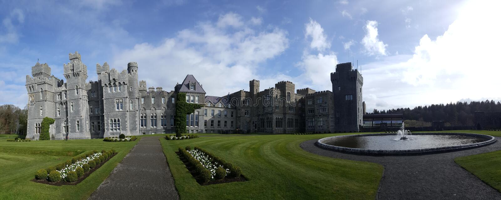 Afternoon at Ashford Castle near Galway Ireland. I took this photo in 2017 during our second honeymoon to Ireland. The castle combines several different styles royalty free stock images