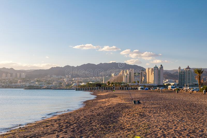 Afternoon on the beach in Eilat in Israel.  stock image