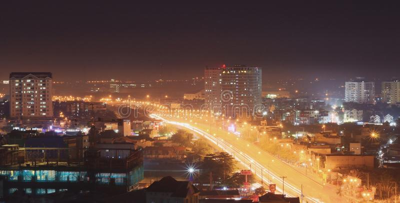 When the street lights up. When the afternoon came, the city went on a light royalty free stock images