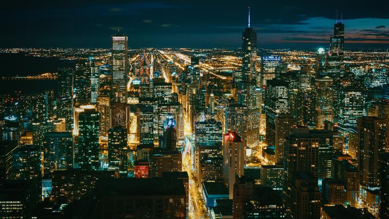 Afternoon Cityscape Chicago Illinois Architecture City Skyline Landscape Urban Center Lights Aerial royalty free stock images