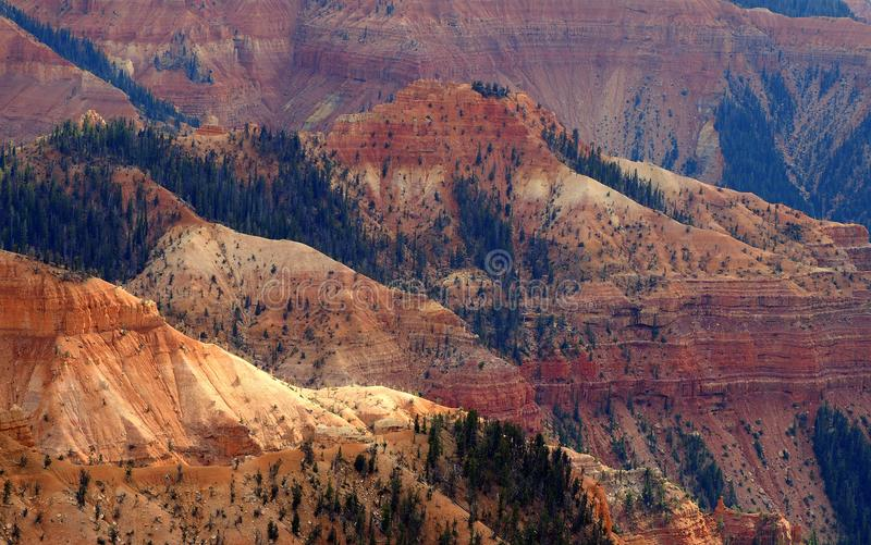 Afternoon Glow of the Cedar Breaks National Monument Amphitheater. The amphitheater of the Cedar Breaks National Monument glows in the late afternoon sun. The royalty free stock photos