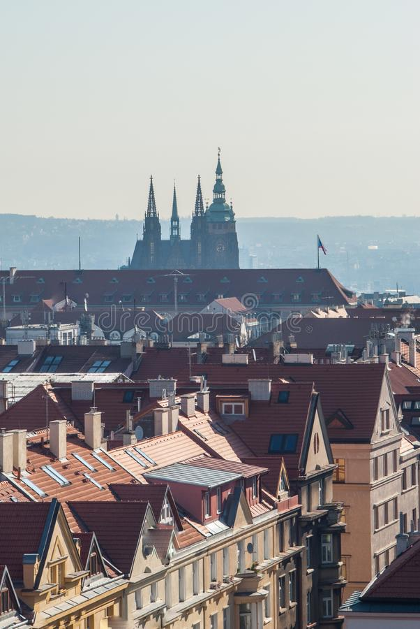 Afternoon in Prague. Prague buildings with Saint Vitus cathedral morning view stock photo