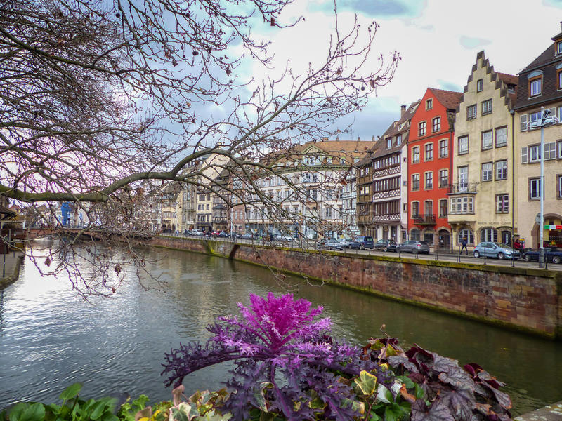 Afternoon at the river in Strasbourg. France crossing the bridge royalty free stock images