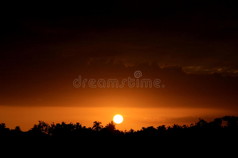 Afternoon sun. Appears from the rice fields, Aceh, Indonesia royalty free stock photos