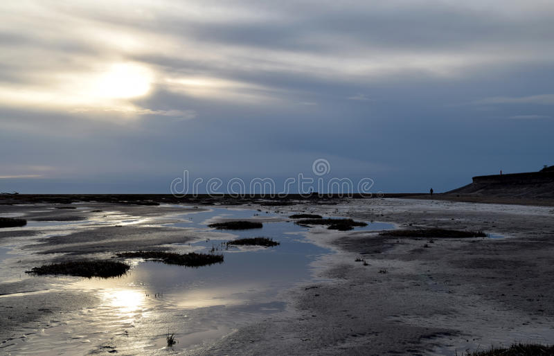 Afternoon sun at Lytham St Annes beach. Late afternoon sun at Lytham St Anne's beach in Lancashire royalty free stock photo
