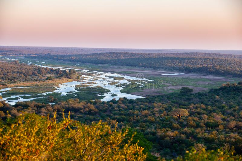 Sunset over the Olifants river in the Kruger National Park, South Africa. stock photos