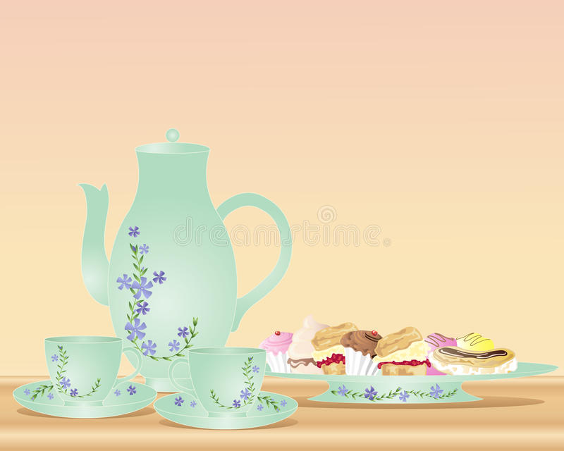 Download Afternoon tea and cakes stock vector. Image of saucer - 19201342