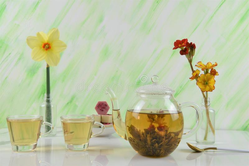 Afternoon tea with flowers royalty free stock photos