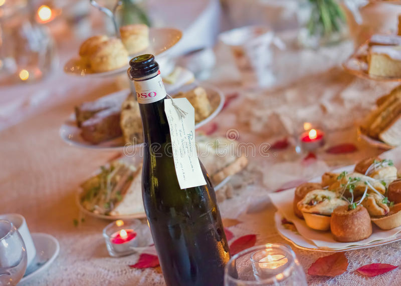 Afternoon Tea Service With Sparkling Wine. Traditional English Luxury. Afternoon Tea Service With Bottle Of Sparkling Wine. Traditional English Luxury stock photo