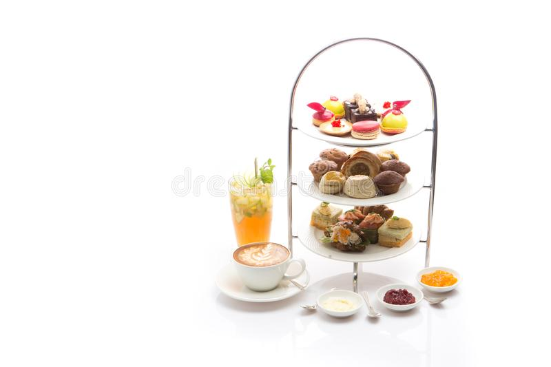 Afternoon tea on white background. Object for tea time or dessert concept royalty free stock photos