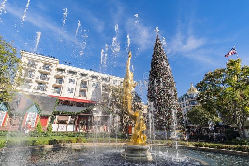 Afternoon view of the fountain and the public art Spirit of Amer royalty free stock photo