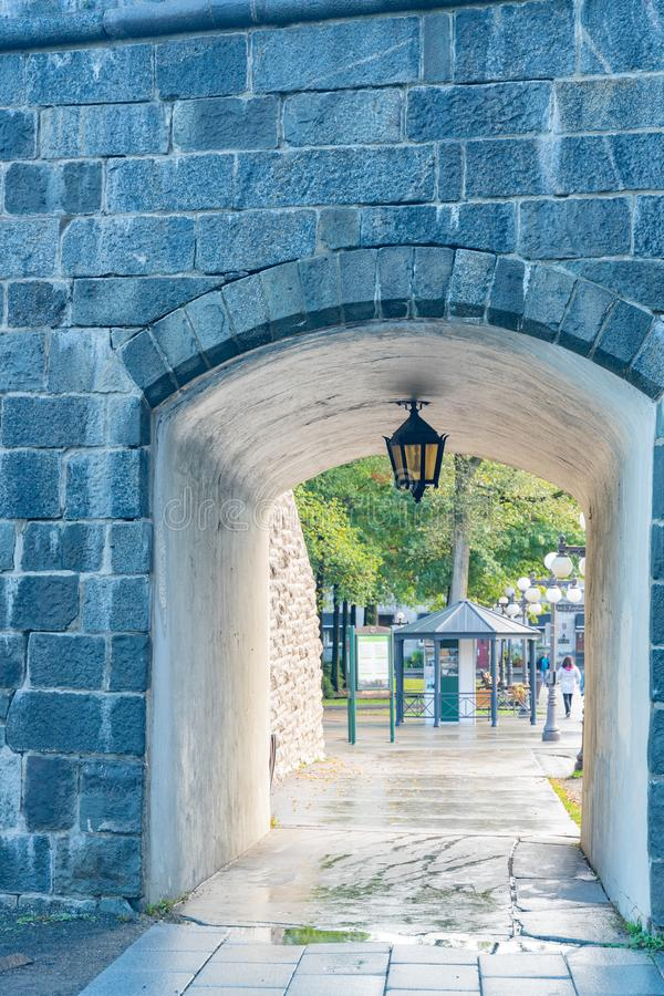 Afternoon view of the old Porte Saint-Louis wall. At Quebec, Canada stock image