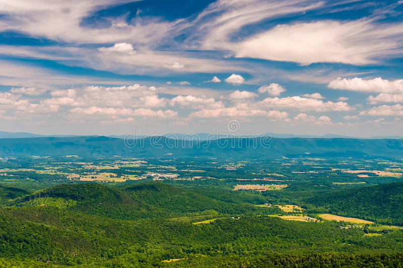 Afternoon view of the Shenandoah Valley from Great North Mountain, in George Washington National Forest, VA. stock images