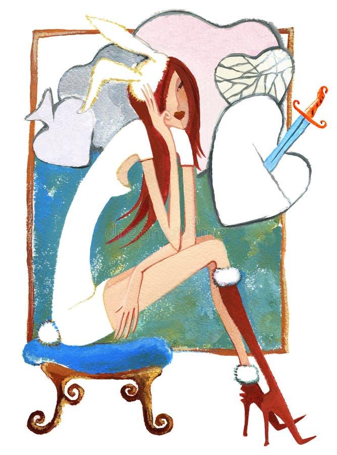 Afterparty flicka i maskeradkläder sitter på banquette på modellbakgrunden royaltyfri illustrationer