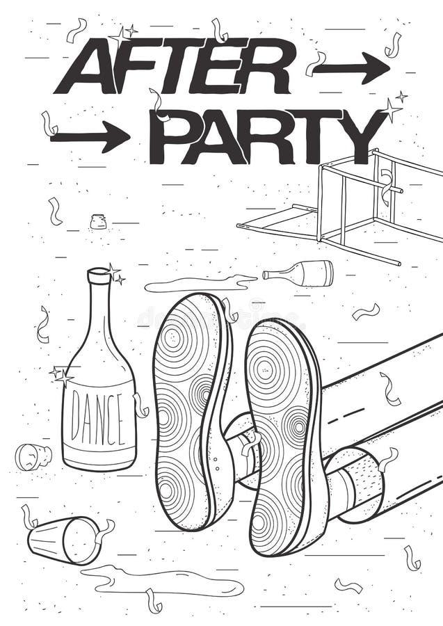 Afterparty plakat Opiły, zmęczony facet uśpiony, odpoczywać pić Śmieszny partyjny plakat Konturowy czarny i biały ilustracja wektor