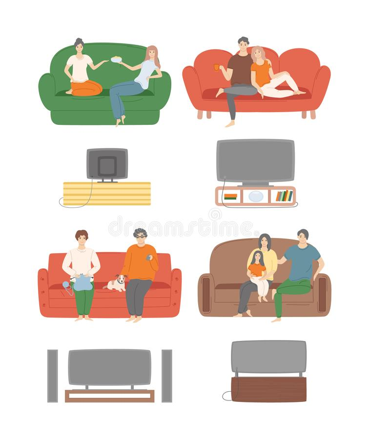 Afton för television för hem- avkopplingfolk hållande ögonen på stock illustrationer
