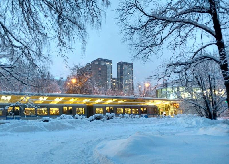 Afton i vinterpark moscow Izmailovo arkivbild