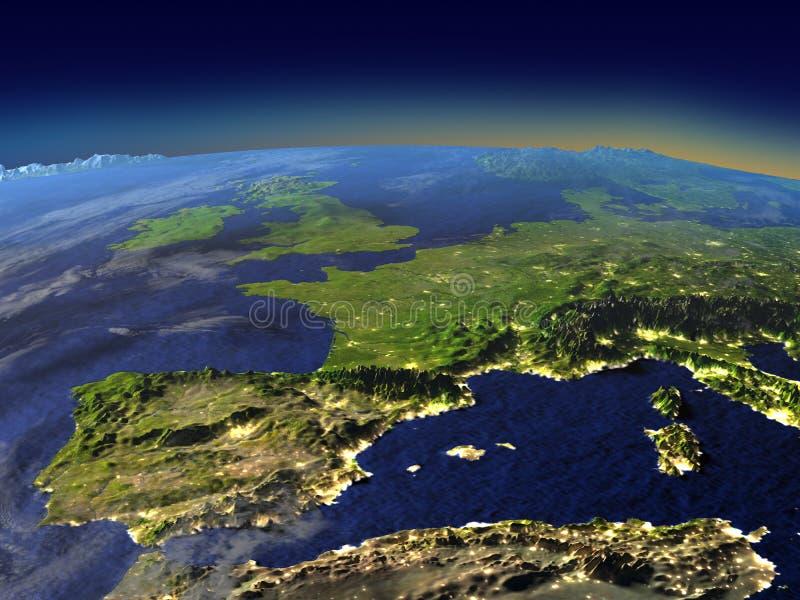 Afton ovanför Iberia från utrymme royaltyfri illustrationer