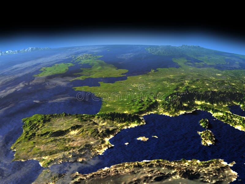Afton ovanför Iberia från utrymme stock illustrationer
