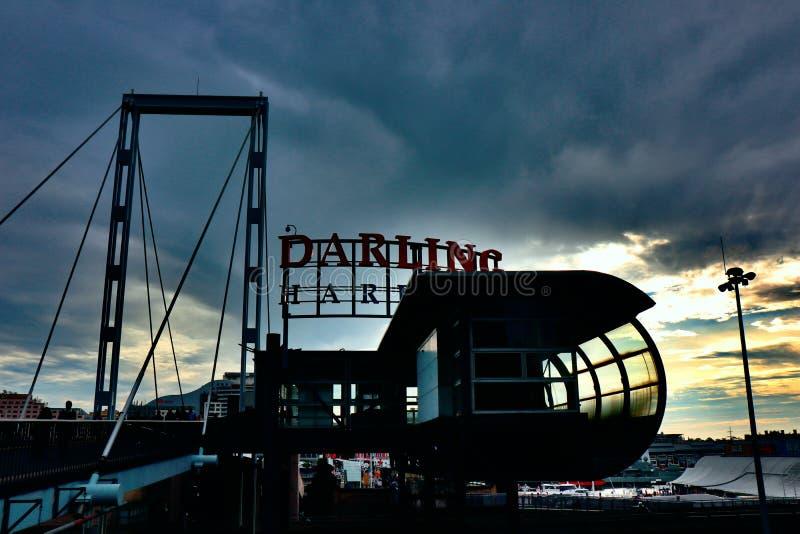 Afton på Darling Harbour royaltyfri foto
