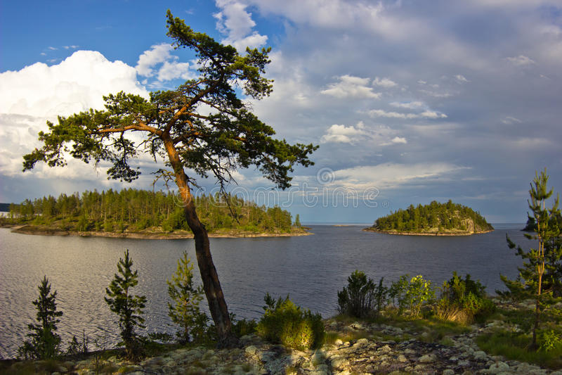 Afton på Ladoga sjön, Karelia arkivfoto