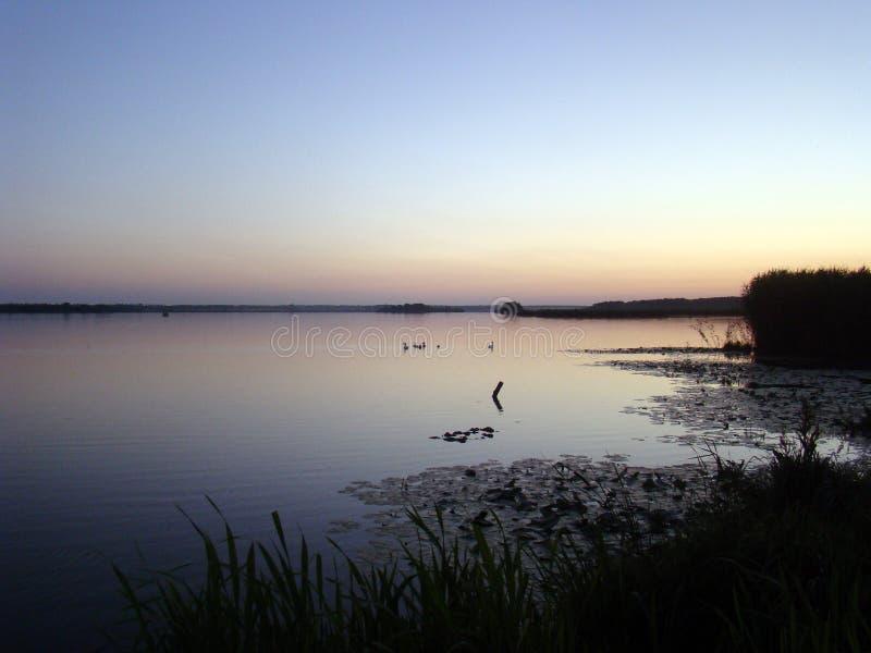afton Solnedgång över laken royaltyfri bild