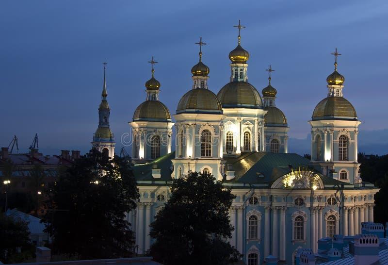 Afton St Petersburg royaltyfria bilder