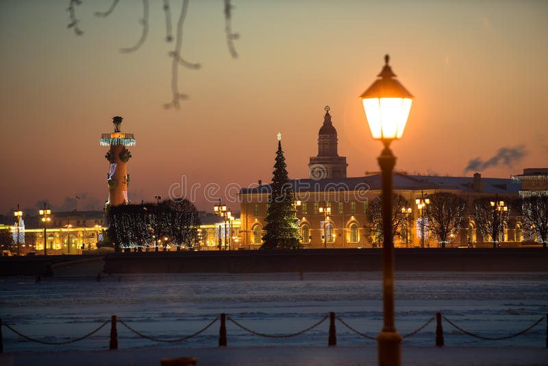 Afton St Petersburg arkivbild
