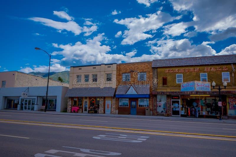 Afton Wyoming, Förenta staterna - Juni 07, 2018: Utomhus- sikt av bågen för elkhorn för larges för världs` s på ingången av arkivfoton