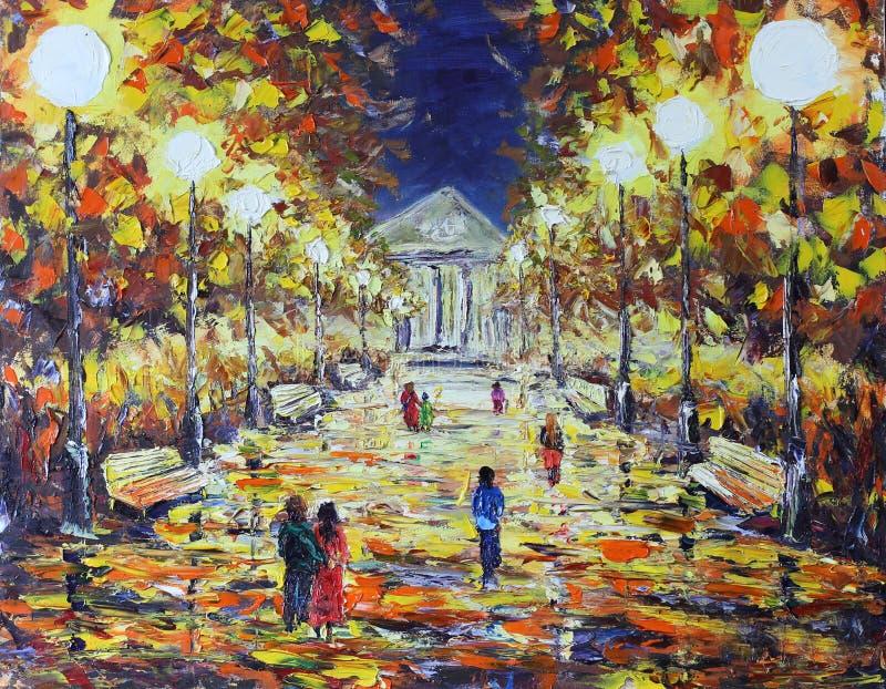 Aftonen går i hösten parkerar, folk, vita ljus vektor illustrationer