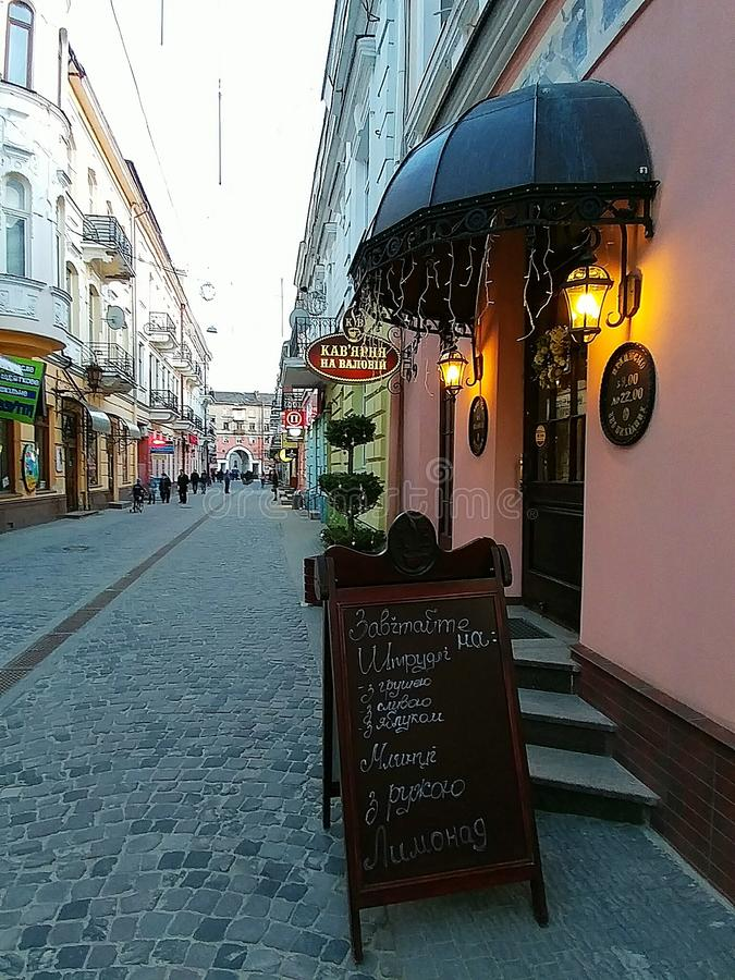 Aftongata i Ternopil, Ukraina royaltyfri bild