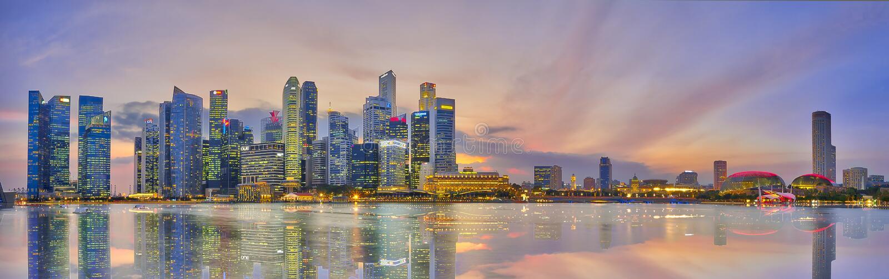 Aftonhorisont av Singapore finansiella område royaltyfri fotografi