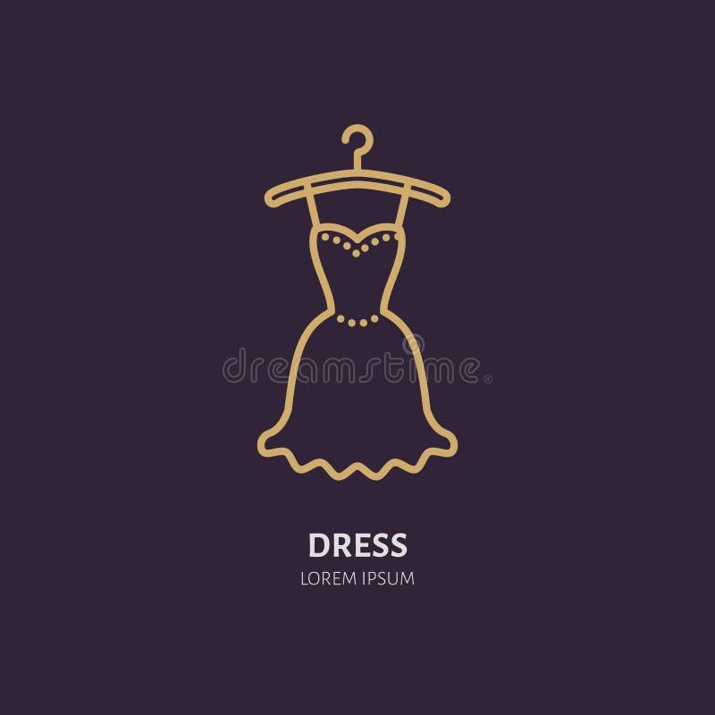Aftonklänningen på hängaresymbolen som beklär shoppar linjen logo Plant tecken för dräktsamling Logotyp för tvätterit, kläder royaltyfri illustrationer