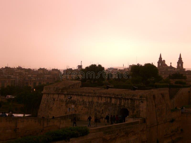 Aftonljus i Valletta, Malta royaltyfria foton