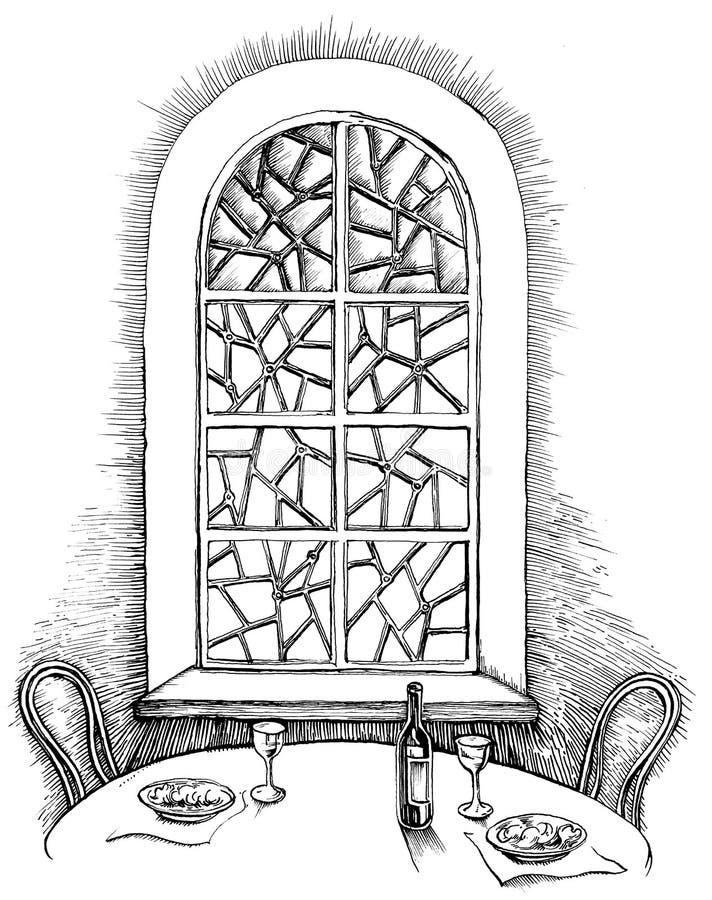 aftonmål stock illustrationer