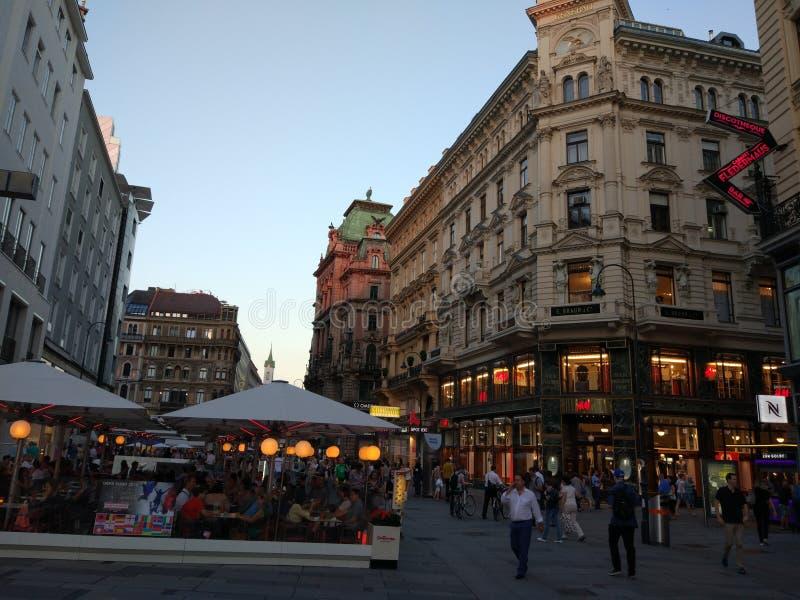 Aftonpromenad i Wien arkivfoton